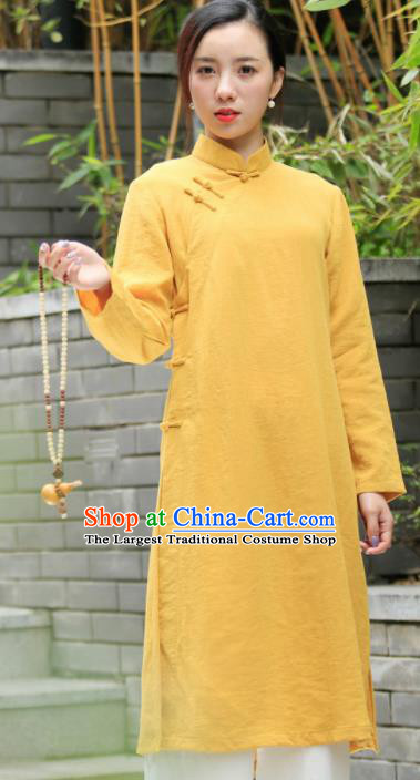 Chinese Traditional Tang Suit Yellow Flax Qipao Blouse Classical Overcoat Costume for Women