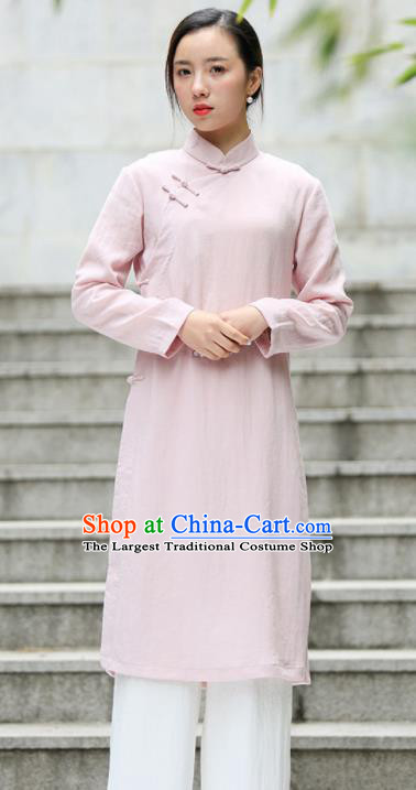 Chinese Traditional Tang Suit Pink Flax Qipao Blouse Classical Overcoat Costume for Women