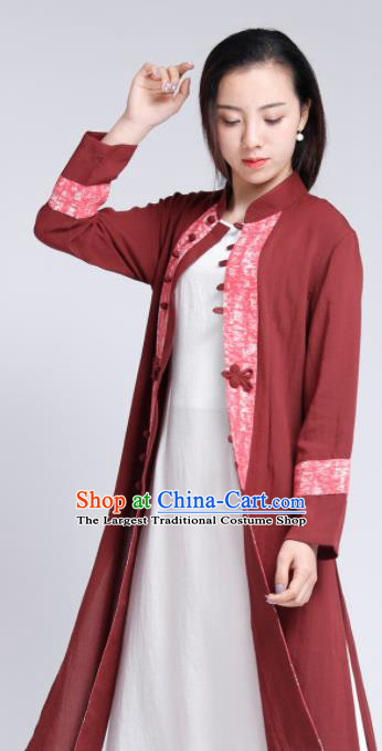 Chinese Traditional Tang Suit Rust Red Flax Cardigan Classical Overcoat Costume for Women