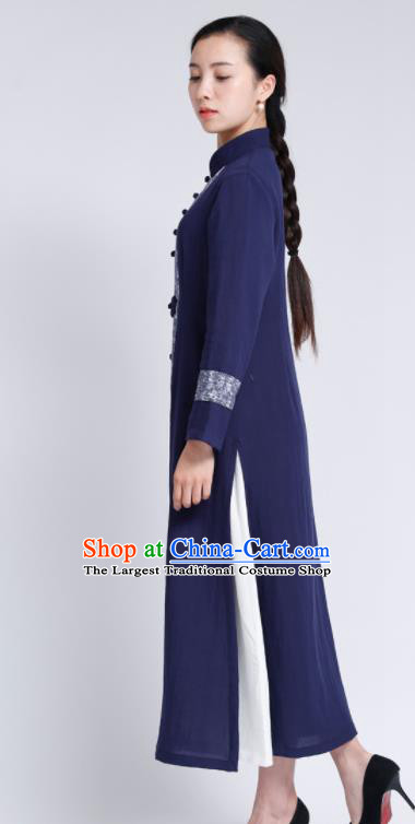 Chinese Traditional Tang Suit Navy Flax Cardigan Classical Overcoat Costume for Women