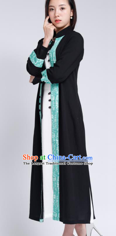 Chinese Traditional Tang Suit Black Flax Cardigan Classical Overcoat Costume for Women