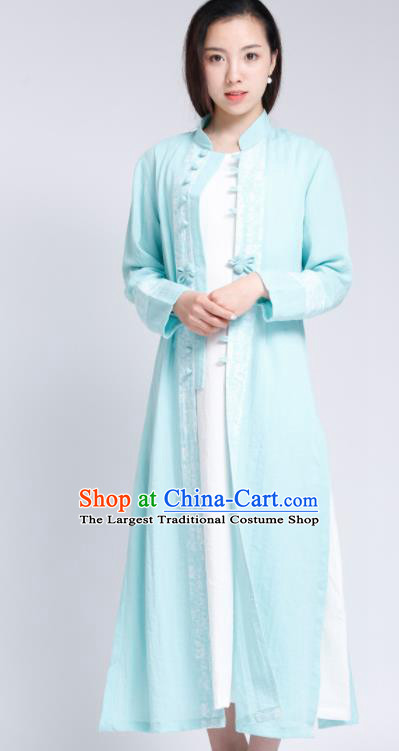 Chinese Traditional Tang Suit Light Blue Flax Cardigan Classical Overcoat Costume for Women
