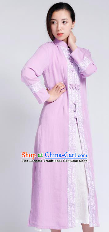 Chinese Traditional Tang Suit Lilac Flax Cardigan Classical Overcoat Costume for Women