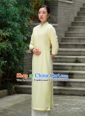 Chinese Traditional Tang Suit Yellow Qipao Dress Martial Arts Kung Fu Tai Chi Costume for Women