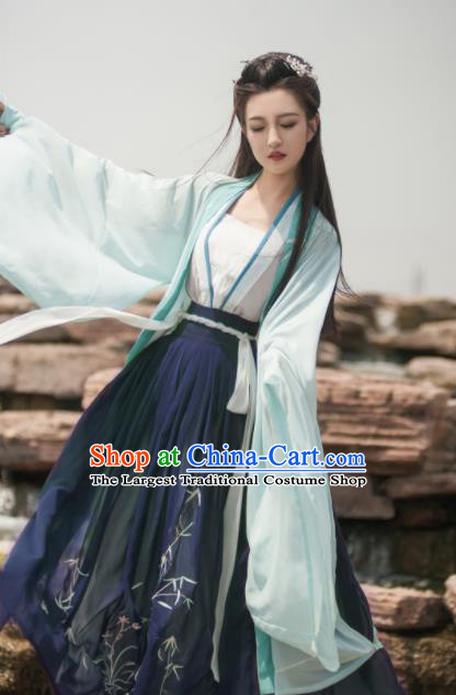 Traditional Chinese Jin Dynasty Dowager Embroidered Green Hanfu Dress Ancient Royal Princess Replica Costume for Women