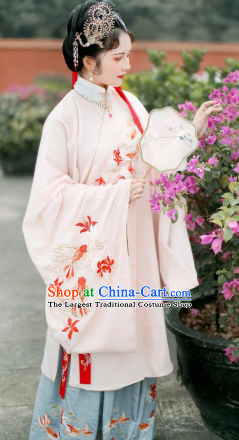 Traditional Chinese Ming Dynasty Imperial Consort Embroidered Hanfu Dress Ancient Royal Princess Replica Costume for Women