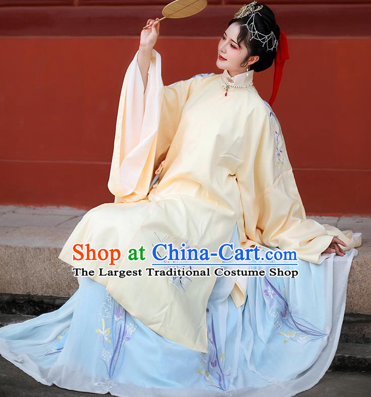 Traditional Chinese Ming Dynasty Palace Countess Embroidered Hanfu Dress Ancient Imperial Consort Replica Costume for Women