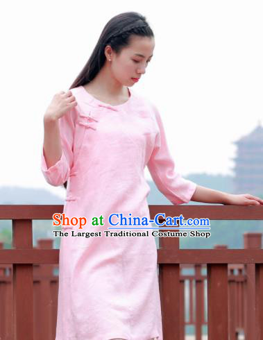 Chinese Traditional Tang Suit Pink Flax Blouse Classical Dress Costume for Women