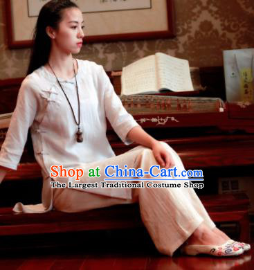 Chinese Traditional Tang Suit White Flax Blouse Classical Dress Costume for Women