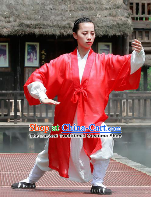 Chinese Traditional Wudang Taoist Nun Martial Arts Red Outfits Kung Fu Tai Chi Costume for Women