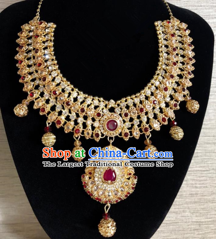 South Asia  Indian Bride Jewelry Accessories Traditional   India Hui Nationality Red Gems Eyebrows Pendant for Women