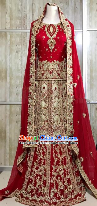 South Asia  Indian Queen Embroidered Red Dress Traditional   India Court Hui Nationality Wedding Costumes for Women