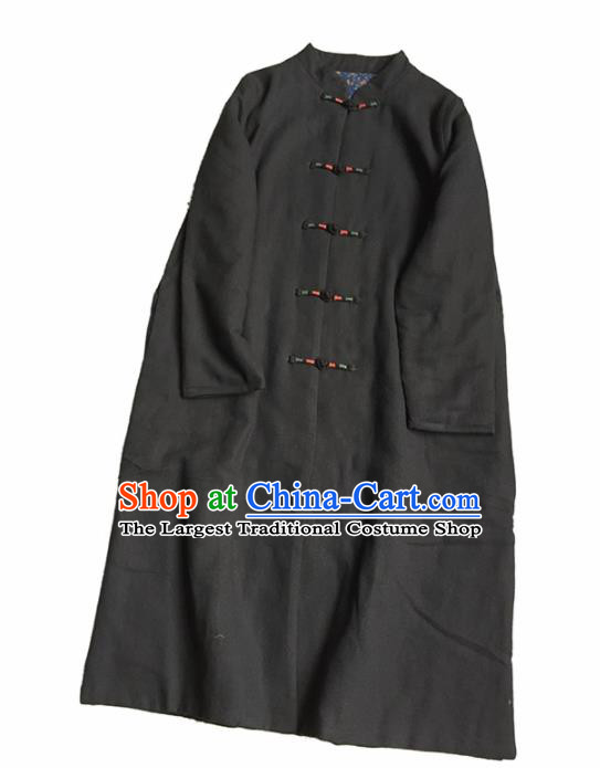Chinese Traditional Tang Suit Black Cotton Padded Coat National Greatcoat Costume for Women