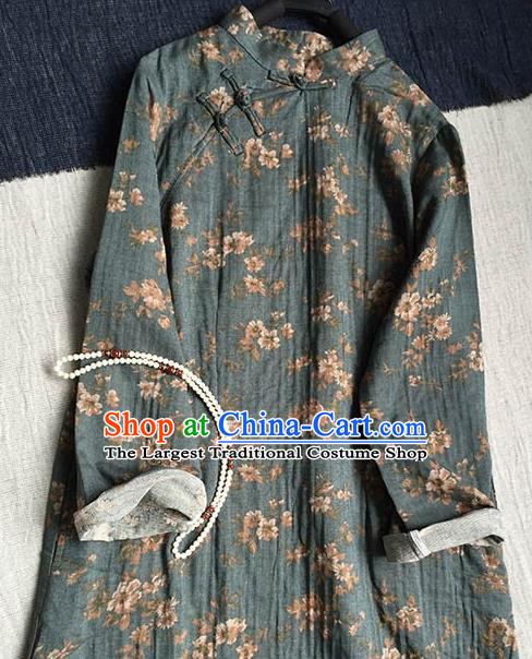 Chinese Traditional Tang Suit Grey Cheongsam National Costume Printing Qipao Dress for Women