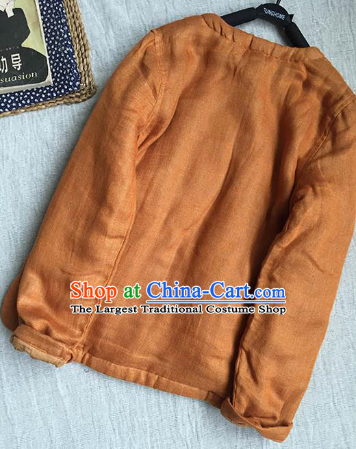 Chinese Traditional Tang Suit Ginger Cotton Padded Jacket National Upper Outer Garment Costume for Women