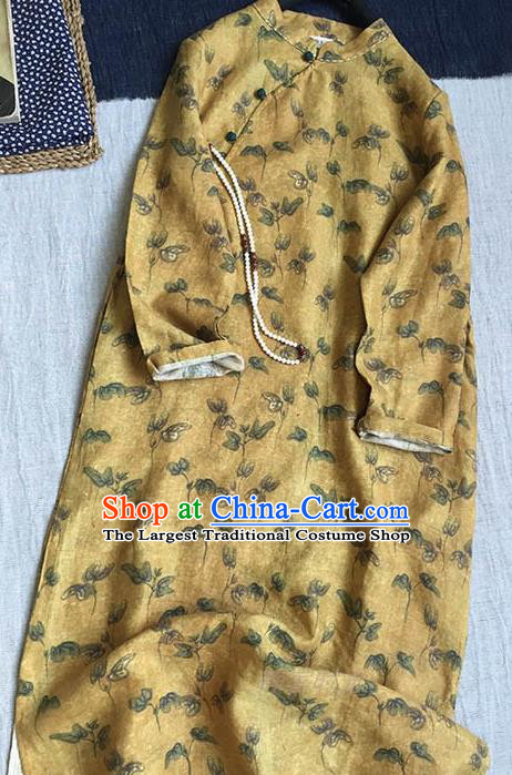 Chinese Traditional Tang Suit Printing Yellow Flax Cheongsam National Costume Qipao Dress for Women