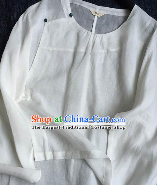 Chinese Traditional Tang Suit White Ramie Blouse National Upper Outer Garment Costume for Women