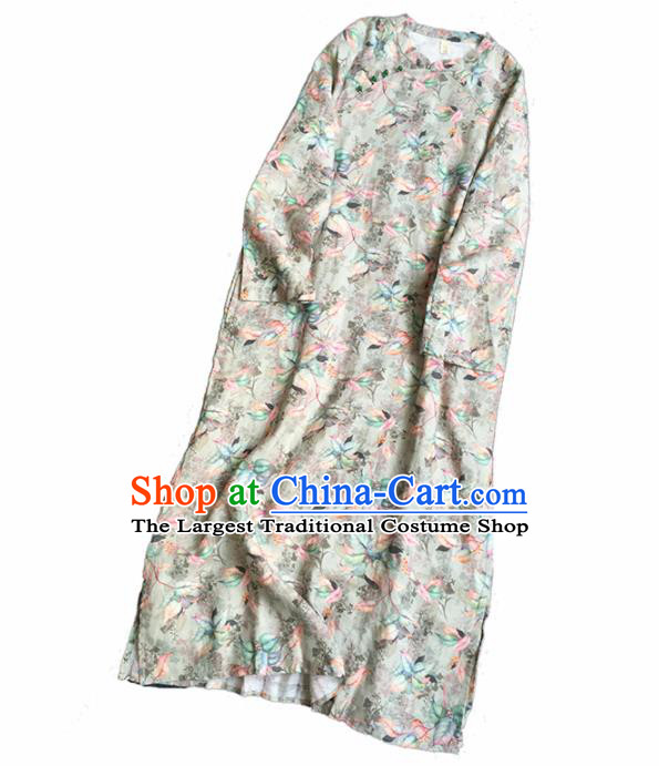 Chinese Traditional Tang Suit Printing Flax Cheongsam National Costume Qipao Dress for Women