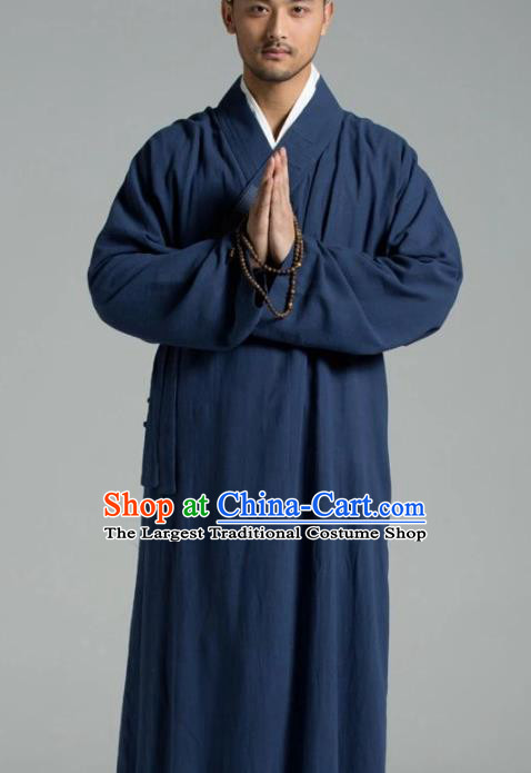 Traditional Chinese Monk Costume Buddhists Navy Linen Long Robe for Men