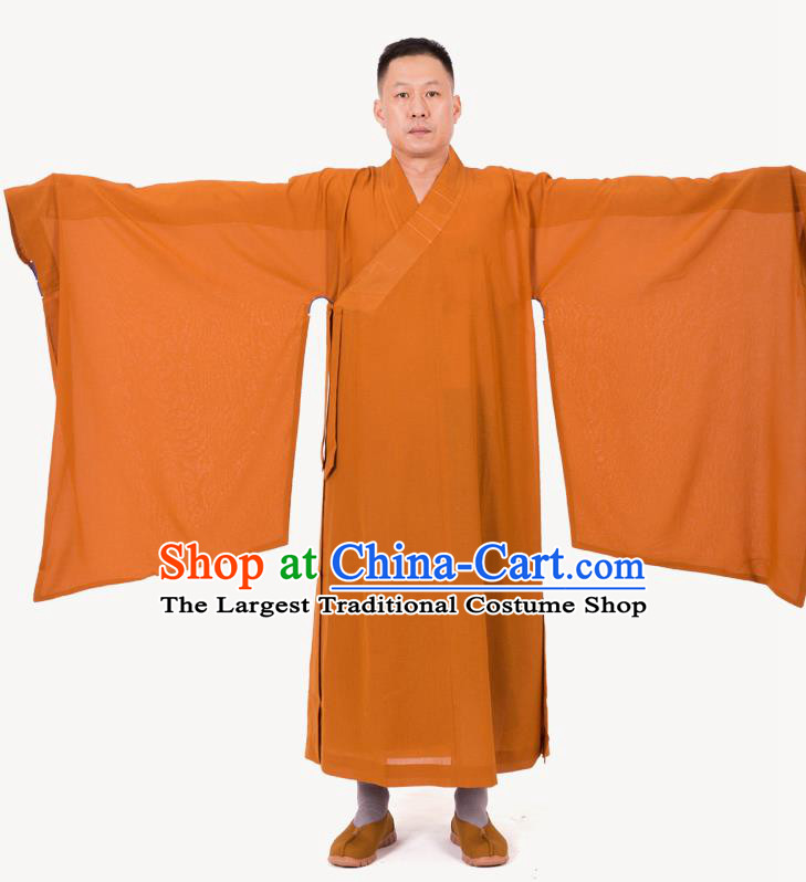 Traditional Chinese Monk Costume Buddhists Ginger Yarn Long Robe for Men