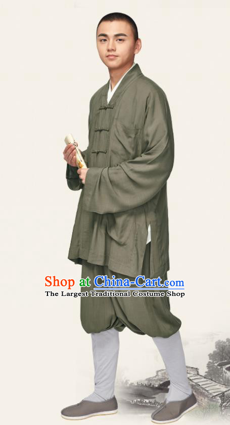 Traditional Chinese Monk Costume Meditation Olive Green Outfits Shirt and Pants for Men