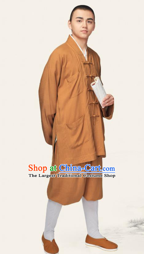 Traditional Chinese Monk Costume Meditation Ginger Outfits Shirt and Pants for Men
