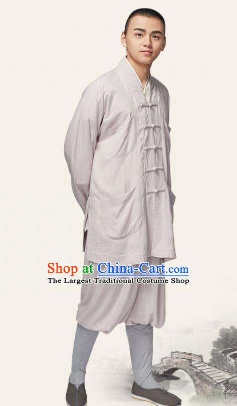 Traditional Chinese Monk Costume Meditation Light Grey Outfits Shirt and Pants for Men
