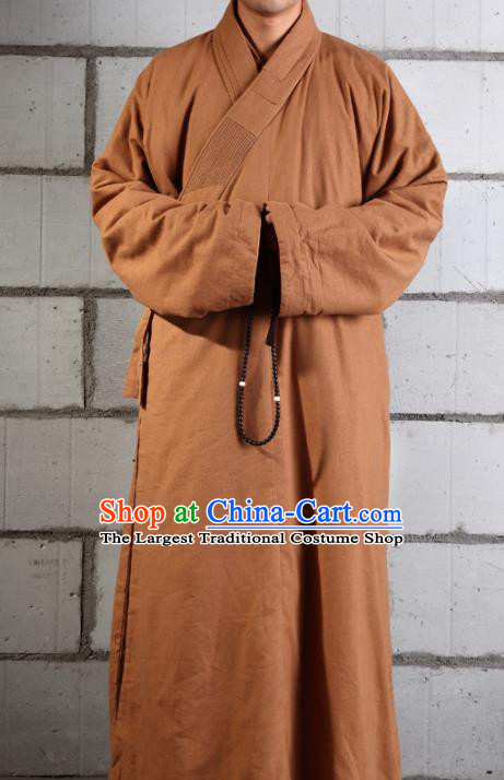 Traditional Chinese Monk Costume Buddhists Abbot Ginger Gown for Men