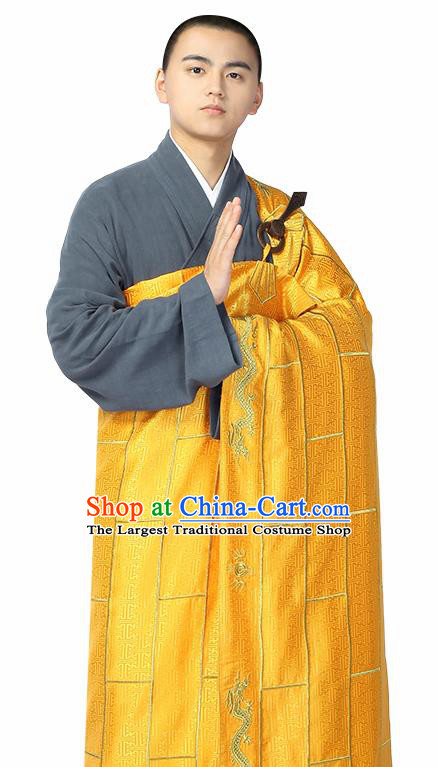 Traditional Chinese Monk Costume Buddhists Golden Cassock for Men