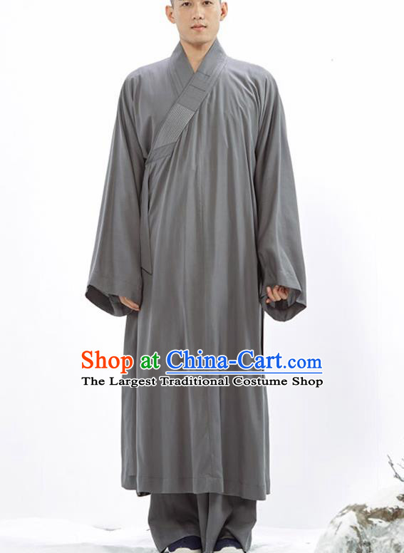Traditional Chinese Monk Costume Buddhists Grey Long Robe for Men