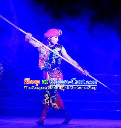 Phoenix Flying Qiang Dance Traditional Chinese Qiang Ethnic Minority Dance Red Costumes and Headwear for Men