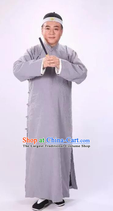 Traditional Chinese Drama Tian Ming Qing Dynasty Civilian Grey Costumes and Headwear for Men