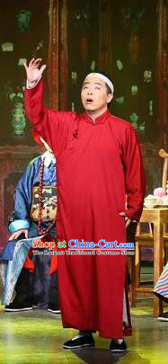 Traditional Chinese Drama Tian Ming Qing Dynasty Civilian Red Costumes and Headwear for Men