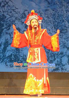 Bai Tu Ji Traditional Chinese Shaoxing Opera Takefu Stage Performance Red Costumes and Headwear for Men