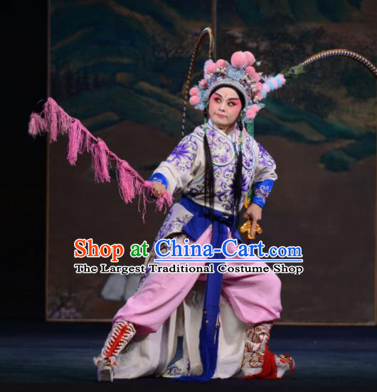 Bai Tu Ji Traditional Chinese Shaoxing Opera Takefu General Stage Performance Costumes and Headwear for Men