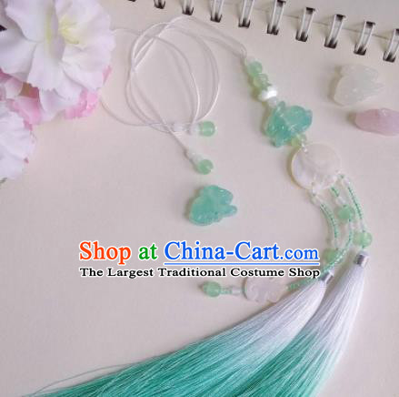 Traditional Chinese Classical Green Tassel Waist Pendant Hanfu Brooch Accessories for Women