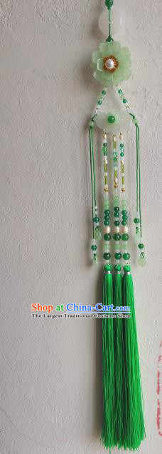 Traditional Chinese Classical Green Tassel Jade Waist Pendant Hanfu Brooch Accessories for Women