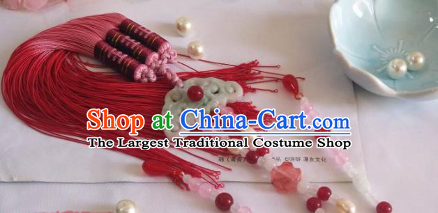 Traditional Chinese Classical Red Tassel Jade Waist Pendant Hanfu Brooch Accessories for Women