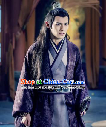 The Untamed Ancient Chinese Nobility Childe Swordsman Jiang Cheng Purple Costumes for Men