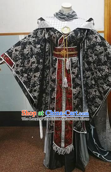 Traditional Chinese Cosplay Knight Black Clothing Ancient Swordsman Costume for Men