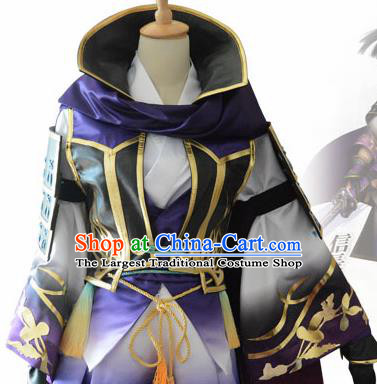 Traditional Japanese Cosplay Samurai Purple Clothing Ancient Swordsman Costume for Men