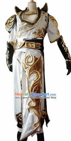 Traditional Chinese Cosplay Knight White Clothing Ancient Swordsman Costume for Men
