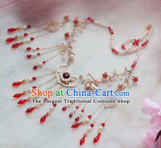 Traditional Chinese Hanfu Red Crystal Tassel Necklace Ancient Princess Jewelry Accessories for Women