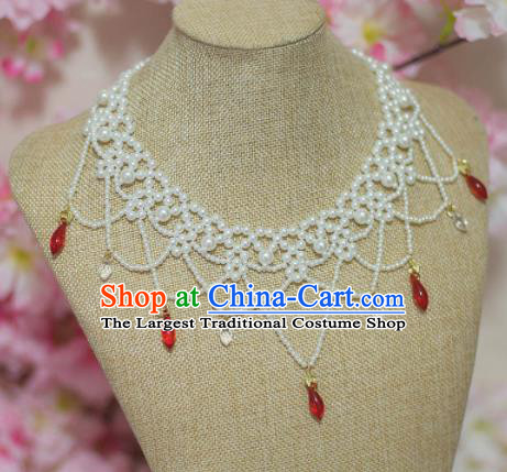Traditional Chinese Hanfu Pearls Necklace Ancient Princess Necklet Accessories for Women
