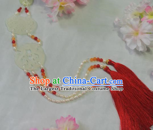 Traditional Chinese Hanfu Jade Pendant Ancient Princess Red Tassel Waist Accessories for Women