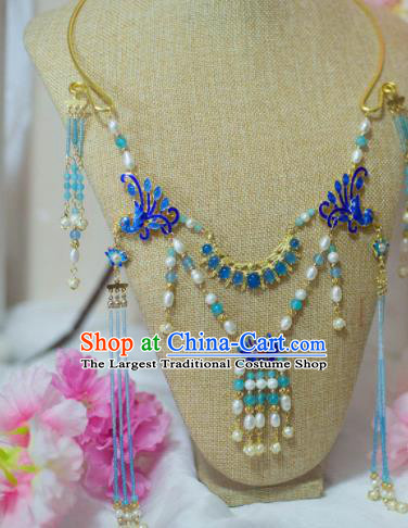 Traditional Chinese Hanfu Cloisonne Phoenix Necklace Ancient Princess Tassel Necklet Accessories for Women