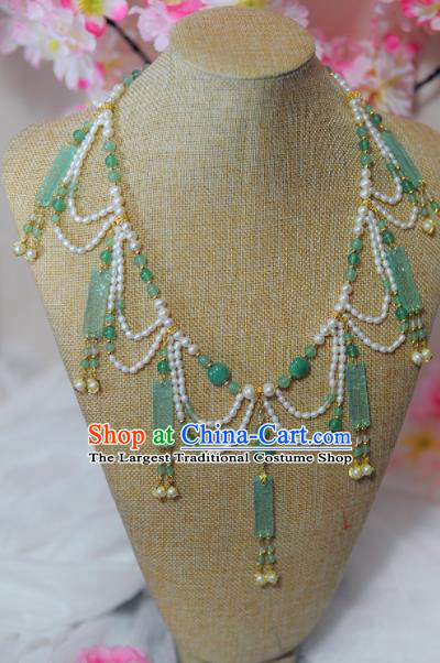 Traditional Chinese Hanfu Green Jade Pearls Necklace Ancient Princess Tassel Necklet Accessories for Women