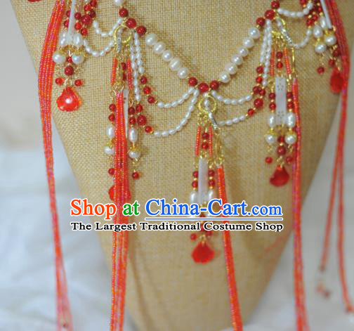 Traditional Chinese Hanfu Pearls Necklace Ancient Princess Red Tassel Necklet Accessories for Women