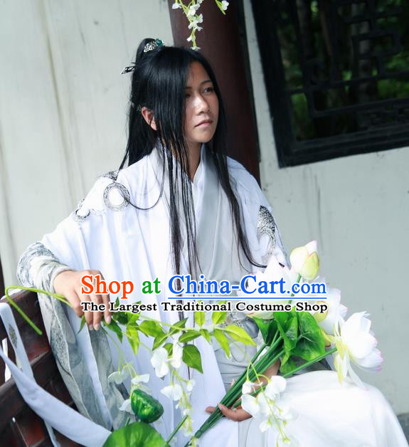 Traditional Chinese Cosplay Swordsman White Clothing Ancient Nobility Childe Costume for Men