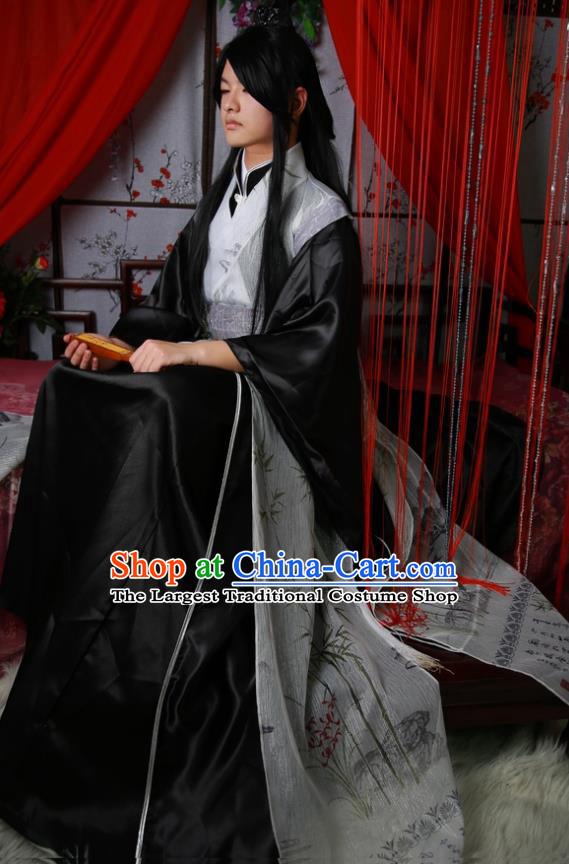 Traditional Chinese Cosplay Swordsman Ink Painting Bamboo Clothing Ancient Nobility Childe Costume for Men